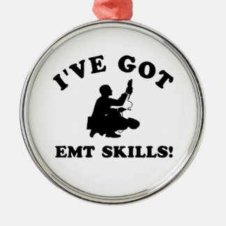 Cool EMT SKILLS  designs Silver-Colored Round Ornament
