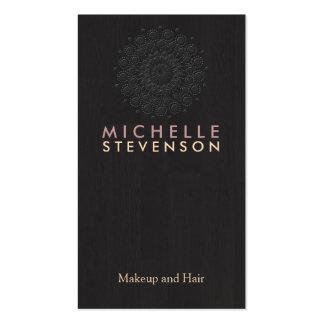 Cool en bois de noir de regard de grain de motif é modèle de carte de visite