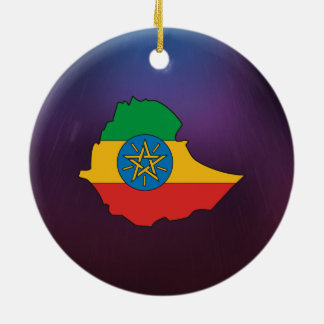Cool ethiopia Flag Map Ceramic Ornament