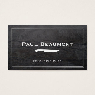 Cool Executive Chef Knife Logo Black Granite Business Card