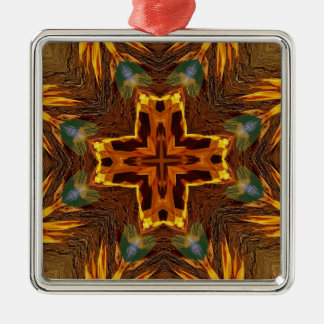 Cool Fall Flaming Arrows Mandela Silver-Colored Square Ornament