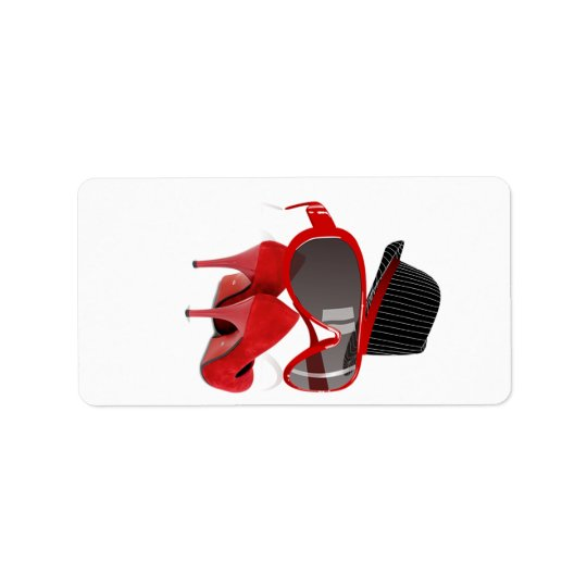 Cool Fashion ladies red hat shoes & glasses