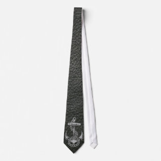 Cool fashionable silver metal shine effects anchor tie