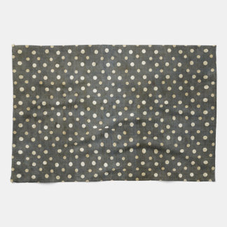 Cool fashionable white polka dots dark grey grunge kitchen towel