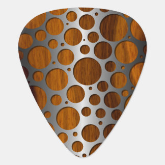 Cool Faux Metal Modern Trendy Wood Grain Pattern Guitar Pick