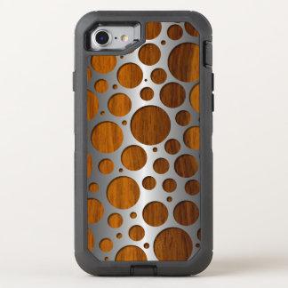 Cool Faux Metal Modern Trendy Wood Grain Pattern OtterBox Defender iPhone 8/7 Case