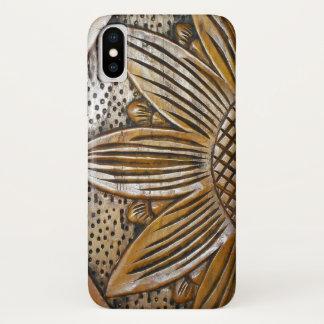 Cool Faux Wood Texture Sunflower Photo Tough Case-Mate iPhone Case