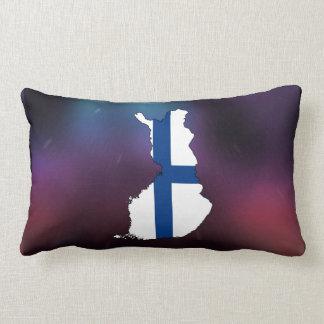 Cool Finland Flag Map Lumbar Pillow