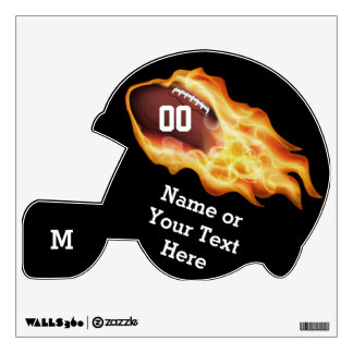 Cool Flaming Football Wall Decal PERSONALIZED