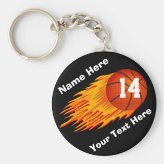 Cool Flaming Personalized Basketball Keychains