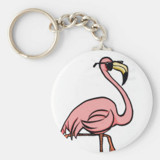 cool flamingo round key chain