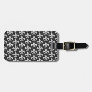cool fleur-de-lis pattern on glitter effects luggage tag