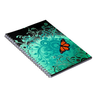 Cool floral and butterfly texture notebook