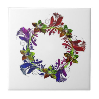 Cool floral multicolored design tile
