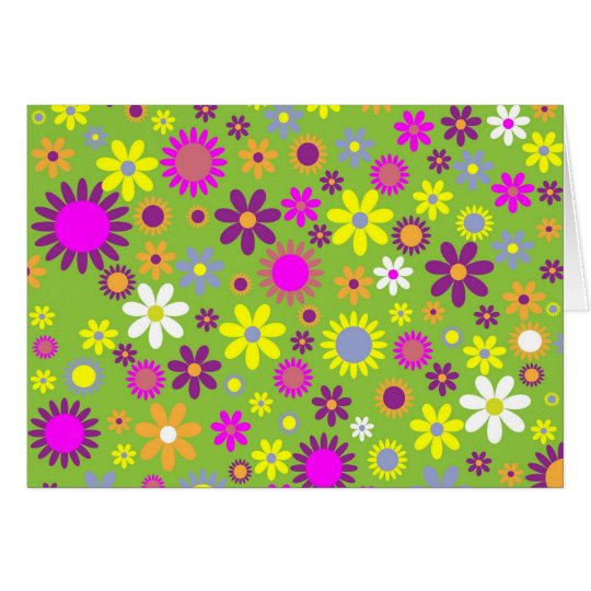 Cool Floral Pattern Colourful Scrapbooking Green Card
