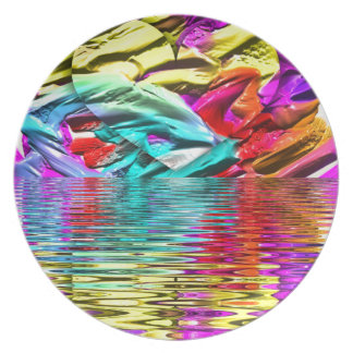 Cool Flourescent Pastel Abstract Water Ripples Plate