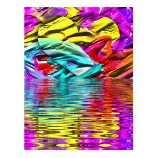 Cool Flourescent Pastel Abstract Water Ripples Postcard