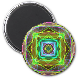 Cool Fluorescent Electrifying Pastel Squares 2 Inch Round Magnet