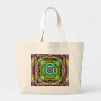 Cool Fluorescent Electrifying Pastel Squares Large Tote Bag