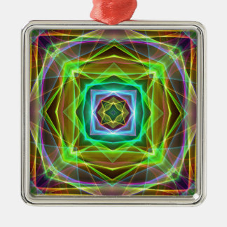 Cool Fluorescent Electrifying Pastel Squares Silver-Colored Square Ornament