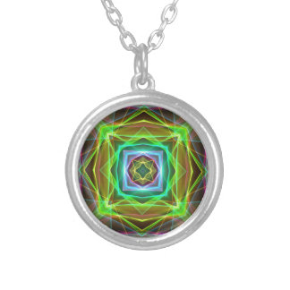 Cool Fluorescent Electrifying Pastel Squares Silver Plated Necklace