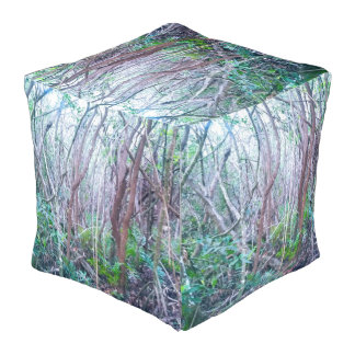 Cool Forest Design Cube Shaped Large Pouf
