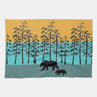 Cool forest landscape mama bear graphics kitchen towel