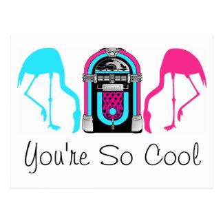 Cool Friend Flamingo Retro Jukebox Postcard