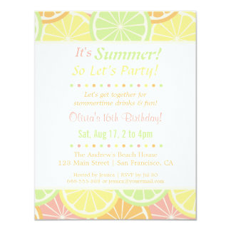 Cool Fruity Summer Birthday Party Invitations