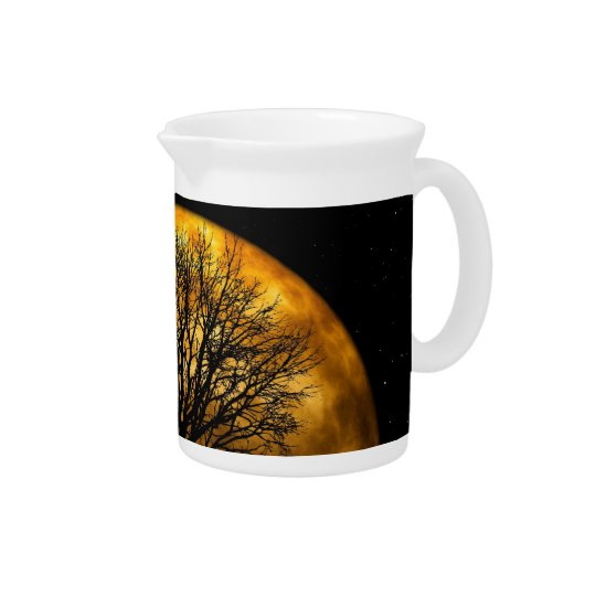 Cool Full Harvest Moon Tree Silhouette Gifts Drink Pitchers