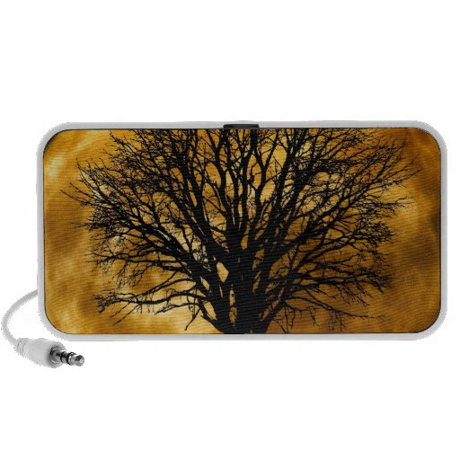 Cool Full Harvest Moon Tree Silhouette Gifts Laptop Speakers
