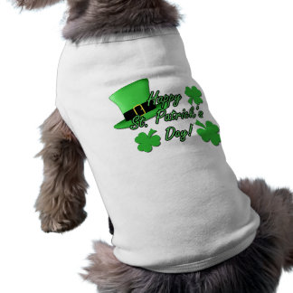 Cool fun Green top hat Shamrocks Patricks Day dog