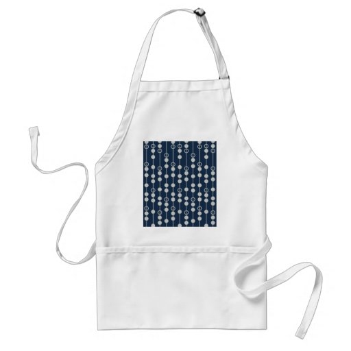 Cool Fun Navy Blue and White Beads on a String Aprons
