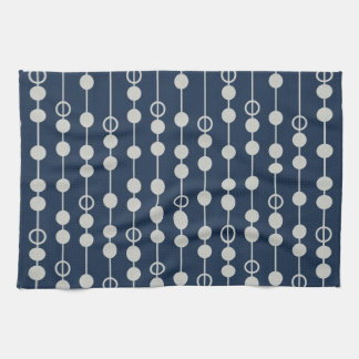 Cool Fun Navy Blue and White Beads on a String Kitchen Towel