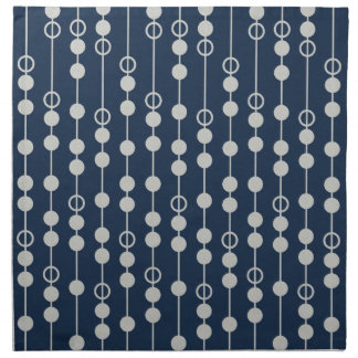 Cool Fun Navy Blue and White Beads on a String Printed Napkins