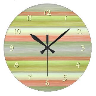 Cool Fun Pretty Watercolor Stripes Pattern Large Clock