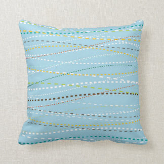 Cool Fun Wavy Dotted Dashed Lines Across Baby Blue Throw Pillow