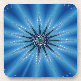 Cool Funky Artistic Royal Blue Starburst Pattern Beverage Coasters