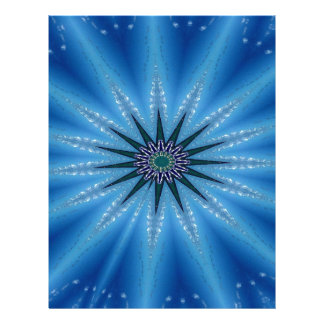 Cool Funky Artistic Royal Blue Starburst Pattern Letterhead Template