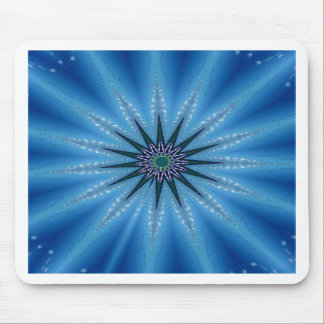 Cool Funky Artistic Royal Blue Starburst Pattern Mouse Pad