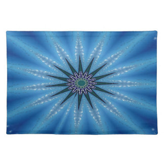 Cool Funky Artistic Royal Blue Starburst Pattern Placemat