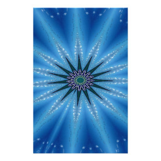 Cool Funky Artistic Royal Blue Starburst Pattern Stationery Design