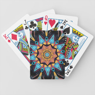 Cool Funky Blue Peach Mandala Bicycle Playing Cards