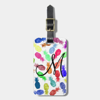 Cool Funky Funny Watercolor Pineapple Monogram Luggage Tag