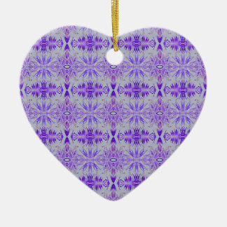 Cool Funky Lavender Fractal Tribal Pattern Ceramic Heart Ornament