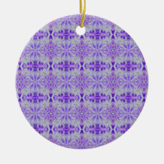 Cool Funky Lavender Fractal Tribal Pattern Round Ceramic Ornament
