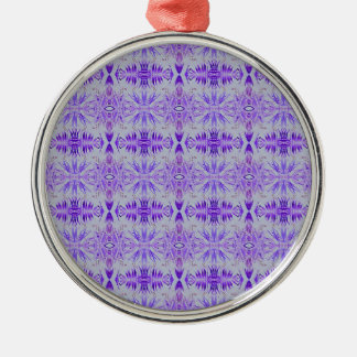Cool Funky Lavender Fractal Tribal Pattern Silver-Colored Round Ornament