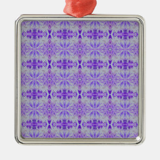 Cool Funky Lavender Fractal Tribal Pattern Silver-Colored Square Ornament