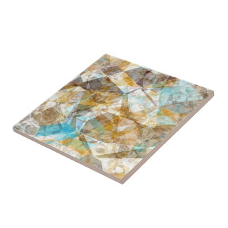 Cool Funky Modern Retro Polygon Mosaic Pattern Tile