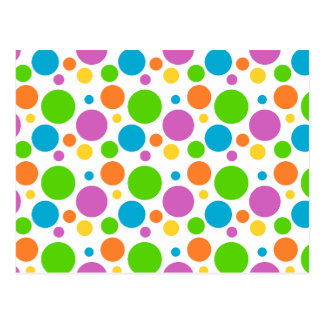 Cool Funky Multicolored Polka Dot Pattern Circle Postcard